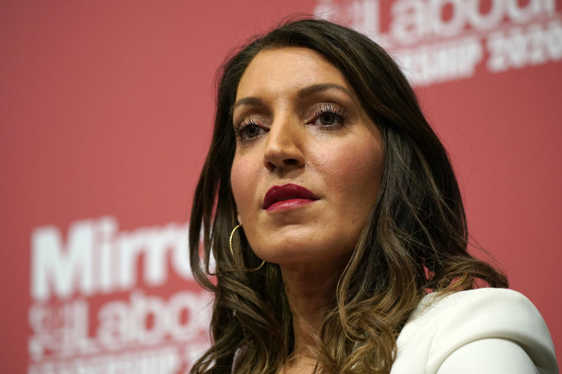 DUDLEY, ENGLAND - MARCH 08: L-R) Dr Rosena Allin-Khan, MP for Tooting addresses the audience during the last Labour Party Deputy Leadership hustings at Dudley Town Hall on March 08, 2020 in Dudley, England. Ian Murray, Angela Rayner, Richard Burgon, Dr Rosena Allin-Khan and Dawn Butler are vying to become Labour's deputy leader following the departure of Tom Watson, who stood down in November last year. (Photo by Christopher Furlong/Getty Images)