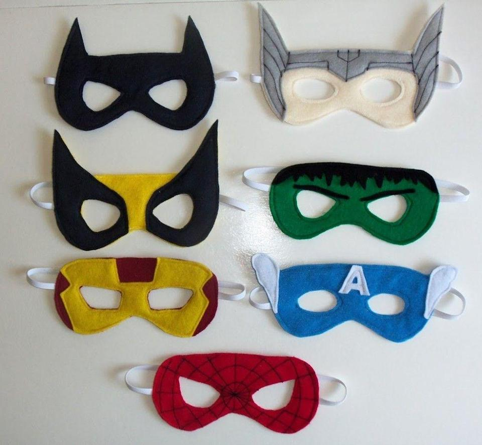 """<p>When your kid is in need of a last-minute disguise, save the day with these threaded felt creations. </p><p><strong>Get the tutorial at <a href=""""http://cutesycrafts.com/2012/07/superhero-party-masks.html"""" rel=""""nofollow noopener"""" target=""""_blank"""" data-ylk=""""slk:Cutesy Crafts"""" class=""""link rapid-noclick-resp"""">Cutesy Crafts</a>.</strong></p>"""