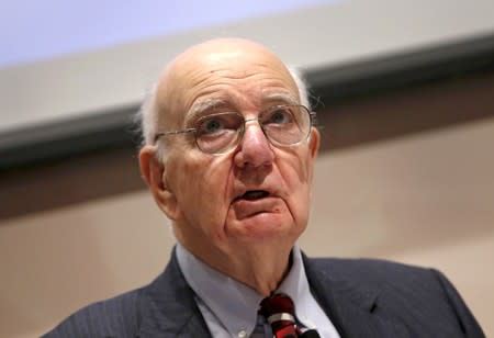 FILE PHOTO:  Former U.S. Federal Reserve Board Chairman Paul A. Volcker speaks at a news conference in New York