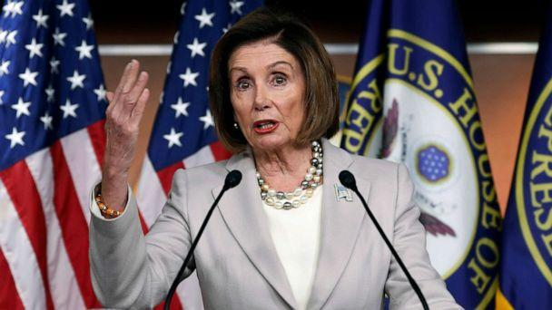 PHOTO: House Speaker Nancy Pelosi of Calif., gestures while speakings during a news conference on Capitol Hill in Washington, D.C., Oct. 17, 2019. (Pablo Martinez Monsivais/AP)