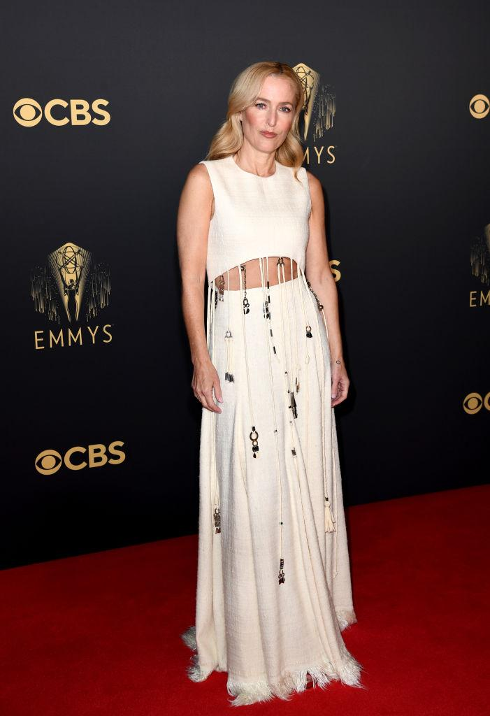 """<p>""""The Crown"""" star arrived for a remote Emmy's celebration in London wearing a cut-out look by Chloé.<em> (Image via Getty Images)</em></p>"""