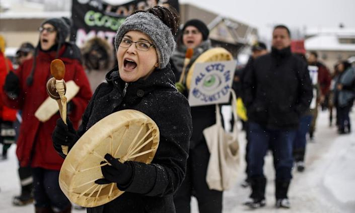 """<span class=""""element-image__caption"""">Supporters of the Wet'suwet'en hereditary chiefs who oppose the Coastal GasLink pipeline take part in a rally in Smithers, British Columbia, last month.</span> <span class=""""element-image__credit"""">Photograph: Jason Franson/AP</span>"""