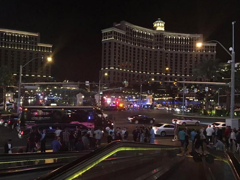 Police surrounding the Bellagio hotel after a reported shooting in the early hours of 25 March (Ama Arthur-Asmah)