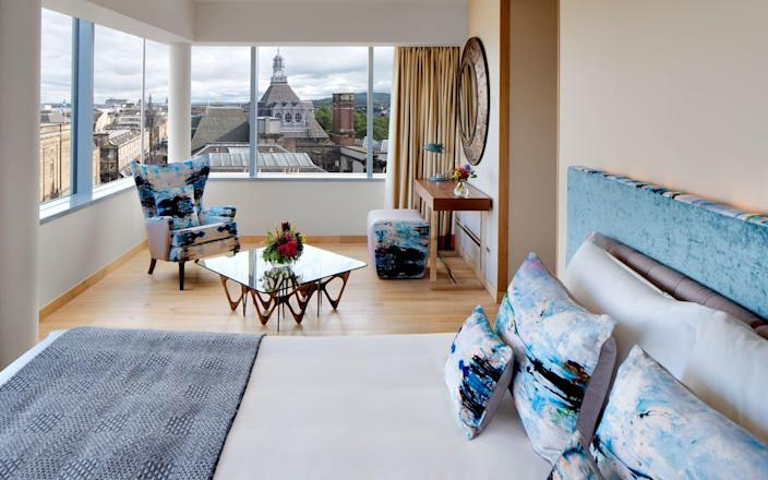 Rooms and suites at the Radisson Collection Royal Mile Edinburgh have been designed by notable Scottish artists and designers.