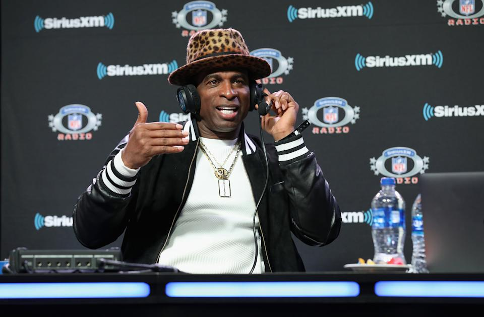 Deion Sanders attends SiriusXM at Super Bowl LIII Radio Row on January 31, 2019 in Atlanta, Georgia. (Cindy Ord/Getty Images for SiriusXM)