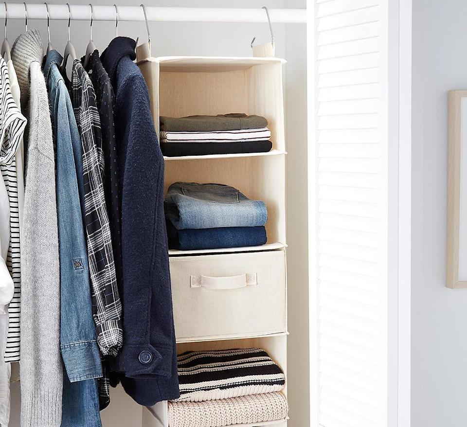 6-Compartment Natural Canvas Hanging Sweater Organizer (Photo: The Container Store)
