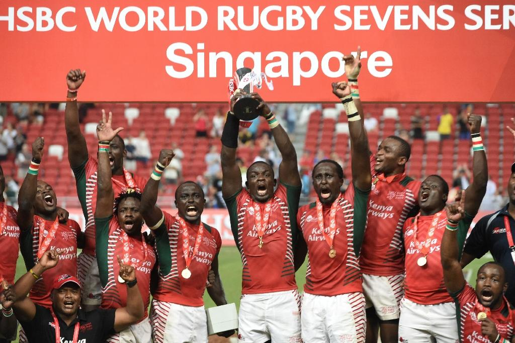 Kenya served notice of their intentions for Rio by winning the Singapore leg of the sevens world series, beating Fiji in Sunday's final. (AFP Photo/Roslan Rahman )