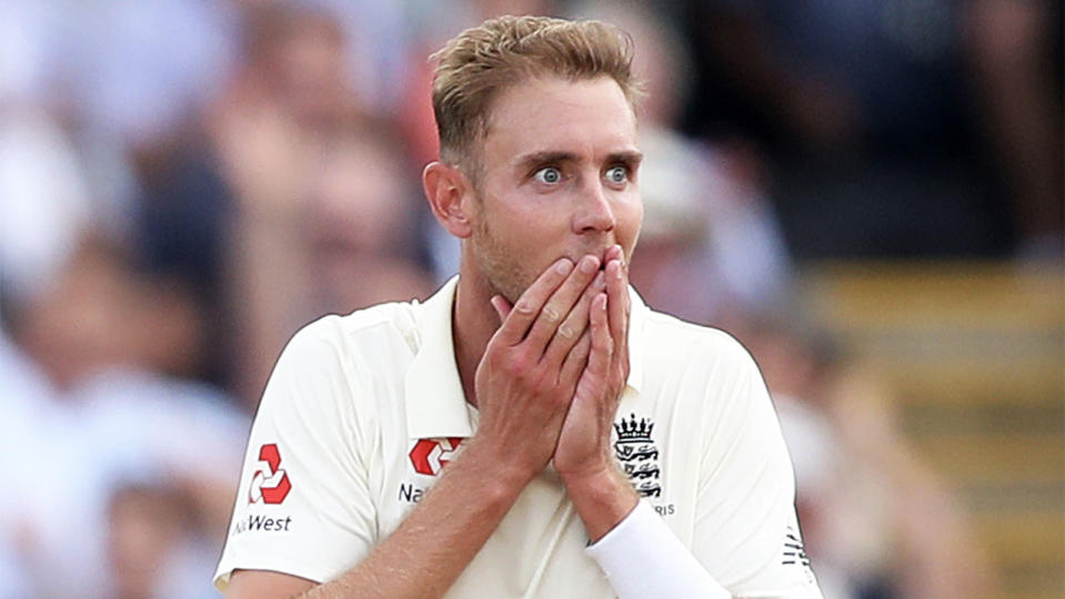 England's Stuart Broad places his hands over his mouth to celebrate taking a wicket in the Ashes.