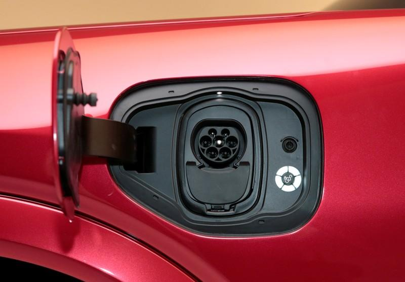 The charging socket is seen on Ford Motor Co's all-new electric Mustang Mach-E vehicle during a photo shoot at a studio in Warren, Michigan