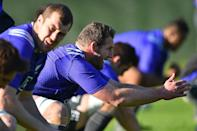New Zealand All Blacks' players take part in a team training session in Cardiff, south Wales, on September 28, 2015, during the Rugby World Cup (AFP Photo/Gabriel Bouys)