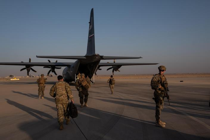 American troops at Camp Shorabak in Helmand province, Afghanistan, Sept. 26, 2019. (Jim Huylebroek/The New York Times)