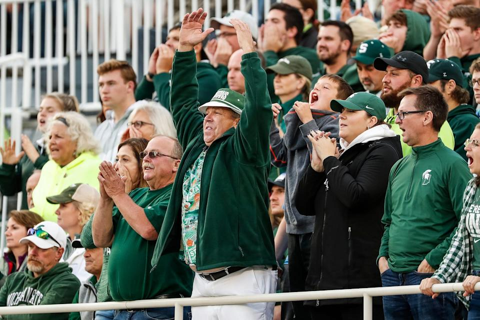 Michigan State fans cheer for the Spartans against Indiana during the second half at Spartan Stadium in East Lansing, Saturday, Sept. 28, 2019.
