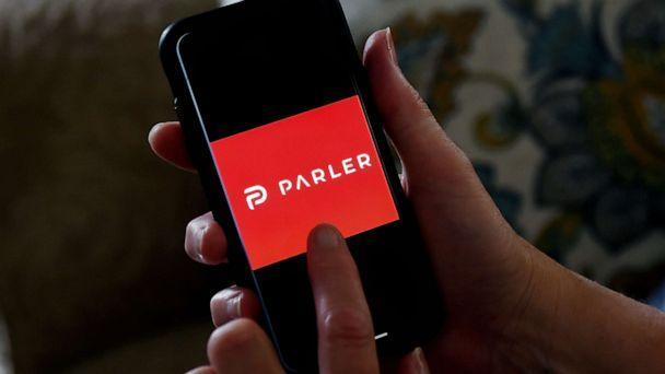 PHOTO: Parler logo displayed on a smartphone. (Olivier Douliery/AFP via Getty Images)
