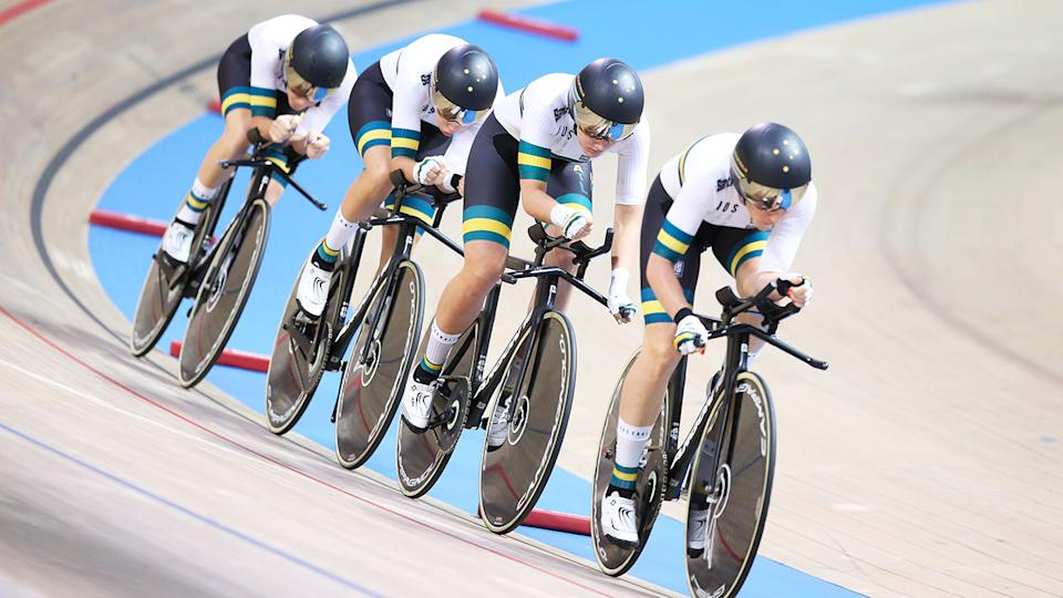 Annette Edmondson, Ashlee Ankudinoff, Georgia Baker and Amy Cure, pictured here at the UCI Track Cycling World Championships in 2019.