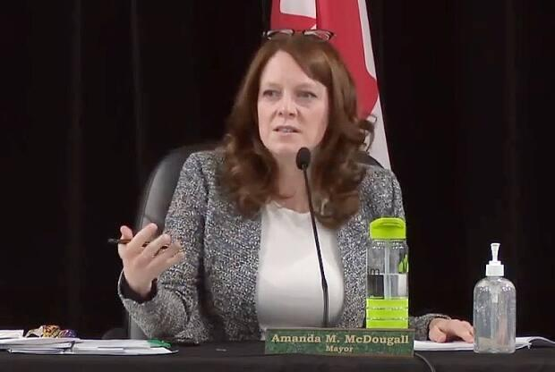 Amanda McDougall, mayor of Cape Breton Regional Municipality, says two ministers of municipal affairs have approved council's decision to hold planning sessions behind closed doors. (Cape Breton Regional Municipality/YouTube - image credit)