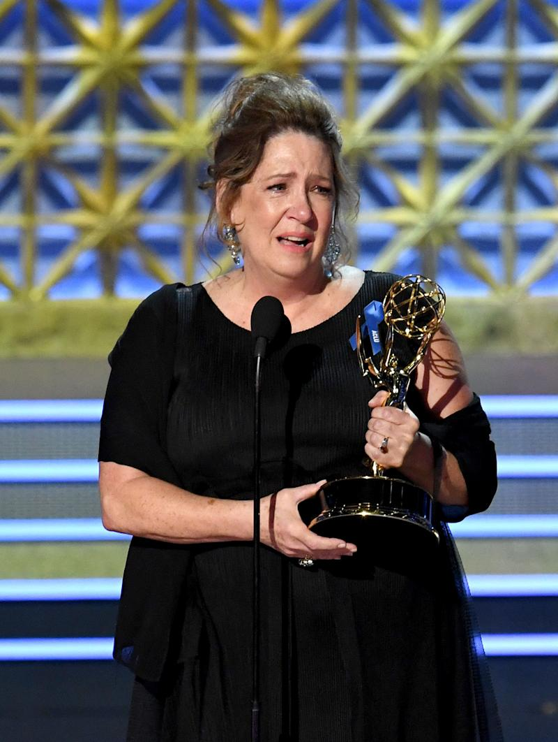 "Actor Ann Dowd accepts the Outstanding Supporting Actress in a Drama Series for ""The Handmaid's Tale"" onstage during the 69th Annual Primetime Emmy Awards at Microsoft Theater on Sept. 17, 2017 in Los Angeles, California."
