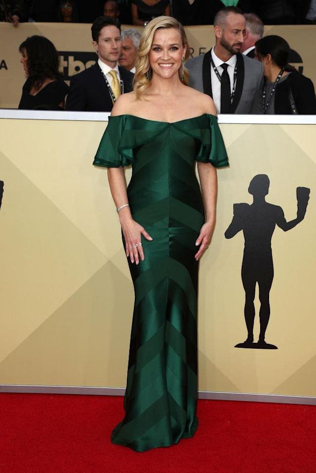 <p>The <em>Big Little Lie</em><em>s</em> actress looked amazing, as per usual, in a green off-the-shoulder dress. (Photo: Getty Images) </p>