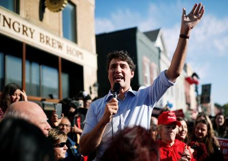Liberal leader and Canadian Prime Minister Justin Trudeau speaks during an election campaign visit to Richmond Hill near Toronto