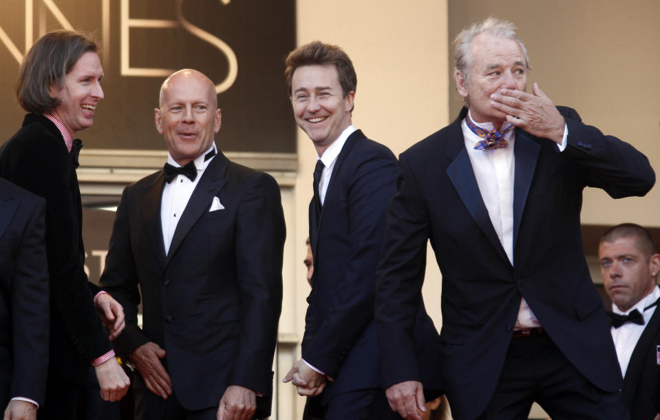 """Director Wes Anderson (L) and cast members Bruce Willis (2ndL), Edward Norton (2ndR) and Bill Murray (R) arrive on the red carpet for the screening of the film """"Moonrise Kingdom"""" in competition at the 65th Cannes Film Festival May 16, 2012. REUTERS/Jean-Paul Pelissier (FRANCE - Tags: ENTERTAINMENT)"""