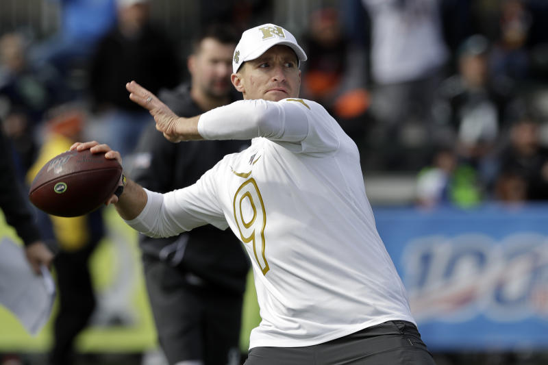 NFC quarterback Drew Brees, of the New Orleans Saints, throws a pass during a practice for the NFL Pro Bowl football game Wednesday, Jan. 22, 2020, in Kissimmee, Fla. (AP Photo/Chris O'Meara)
