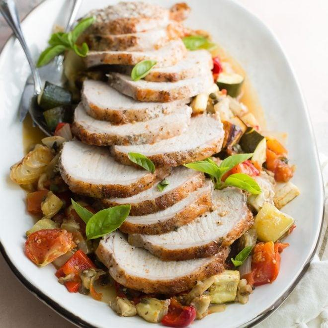 "<p>A delightful summer recipe, this tender pork loin can be served with your favorite fresh veggies. Pair it with a glass of wine if you really want to take your taste buds to heaven.</p> <p><strong>Get the recipe</strong>: <a href=""https://www.culinaryhill.com/pork-loin-with-ratatouille-recipe/"" class=""link rapid-noclick-resp"" rel=""nofollow noopener"" target=""_blank"" data-ylk=""slk:pork loin"">pork loin</a></p>"