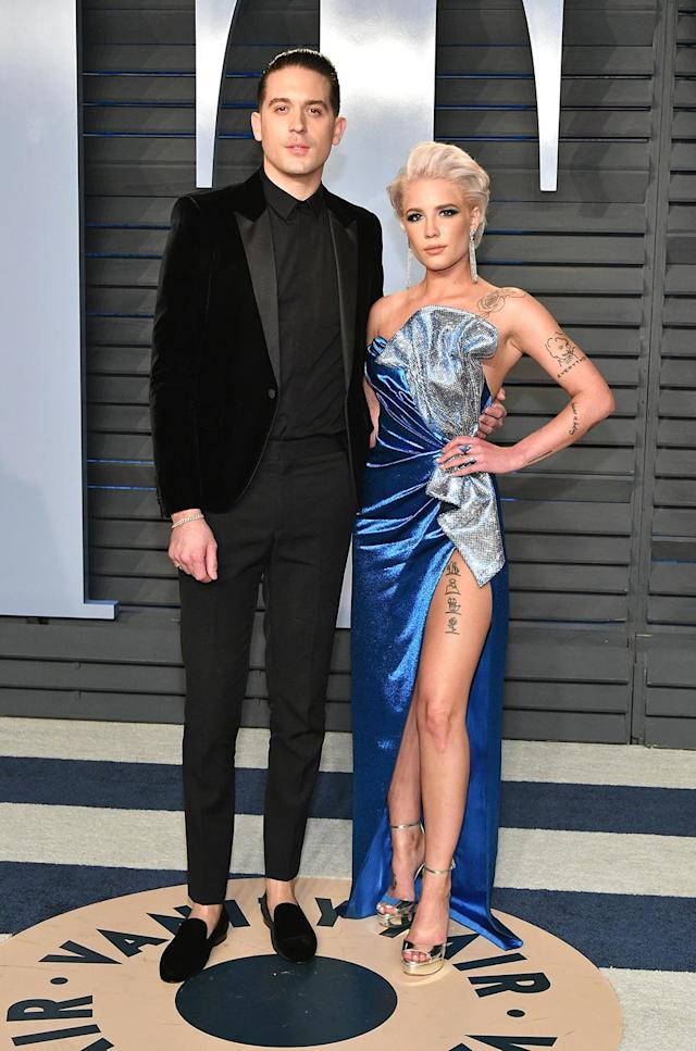 <p>Halsey was bold in a leggy blue gown, while her rapper beau followed the reigning velvet menswear trend. (Photo: Dia Dipasupil/Getty Images) </p>