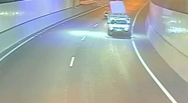 The man was riding along after the ute carrying the mattress before trouble struck.