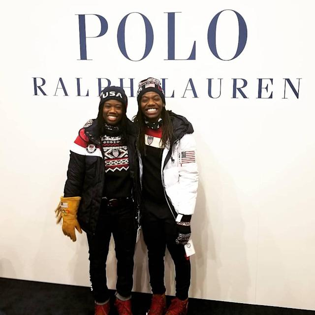 <p>Erin Jackson USA, speed skating: Modeling the Ralph Lauren (@poloralphlauren) opening and closing ceremonies outfits with the one and only Maame Biney (@biney.biney) (Photo via Instagram/speedyj) </p>