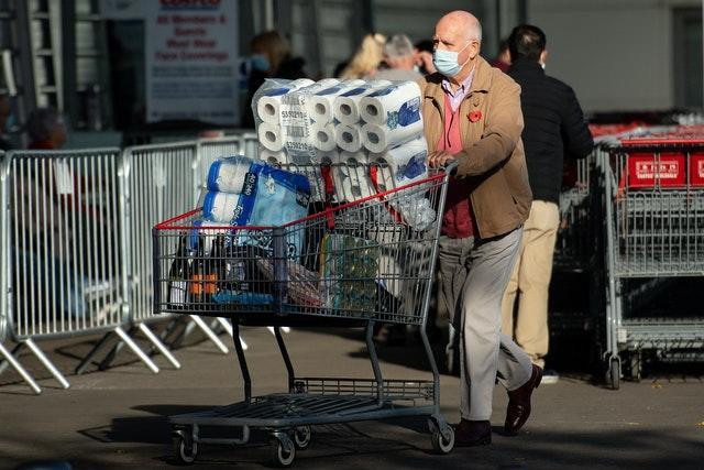 Shoppers at a Costco in Birmingham