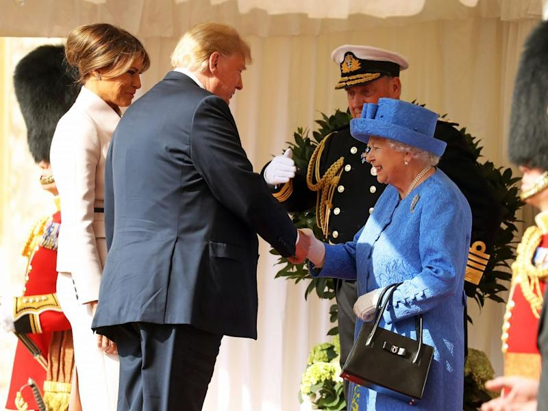 Melania Trump, President Donald Trump, and Queen Elizabeth