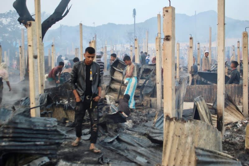 A view of burned houses after a fire broke out at the Nayapara refugee camp in Cox's Bazar