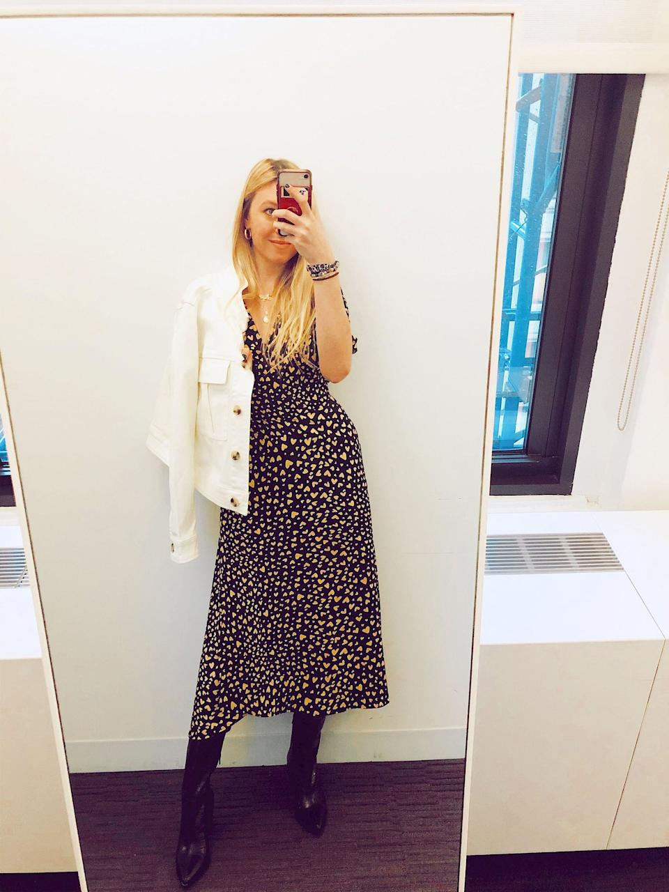"""<p>""""I usually offset feminine pieces like this heart-print dress with tougher extras, and love how this new utility jacket looks as an extra layer. To finish, I went with a pair of knee-high boots in trendy faux-croc."""" - Maggie Boyle, editorial intern</p>"""