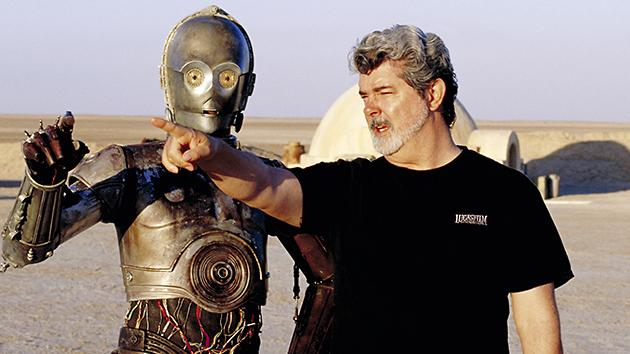 George Lucas, right, and C-3PO