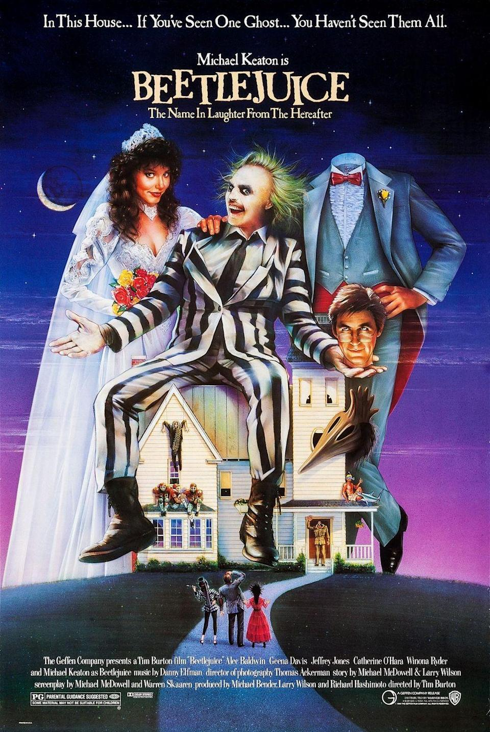 """<p>After dying in a car crash, Adam and Barbara Maitland learn they have to stay in their house for 150 years, which they're fine with, at least until their house is sold to the Deetz family, whom they take an immediate disliking toward. To remedy the situation, the Maitlands hire Beetle Juice to scare the Deetz away, but Beetle Juice gets distracted when he starts wooing the Deetz daughter in order to marry her and return to the land of the living. </p><p><a class=""""link rapid-noclick-resp"""" href=""""https://www.amazon.com/Michael-Keaton/dp/B0091W0ILY/?tag=syn-yahoo-20&ascsubtag=%5Bartid%7C10065.g.29354714%5Bsrc%7Cyahoo-us"""" rel=""""nofollow noopener"""" target=""""_blank"""" data-ylk=""""slk:Watch Now"""">Watch Now</a></p>"""