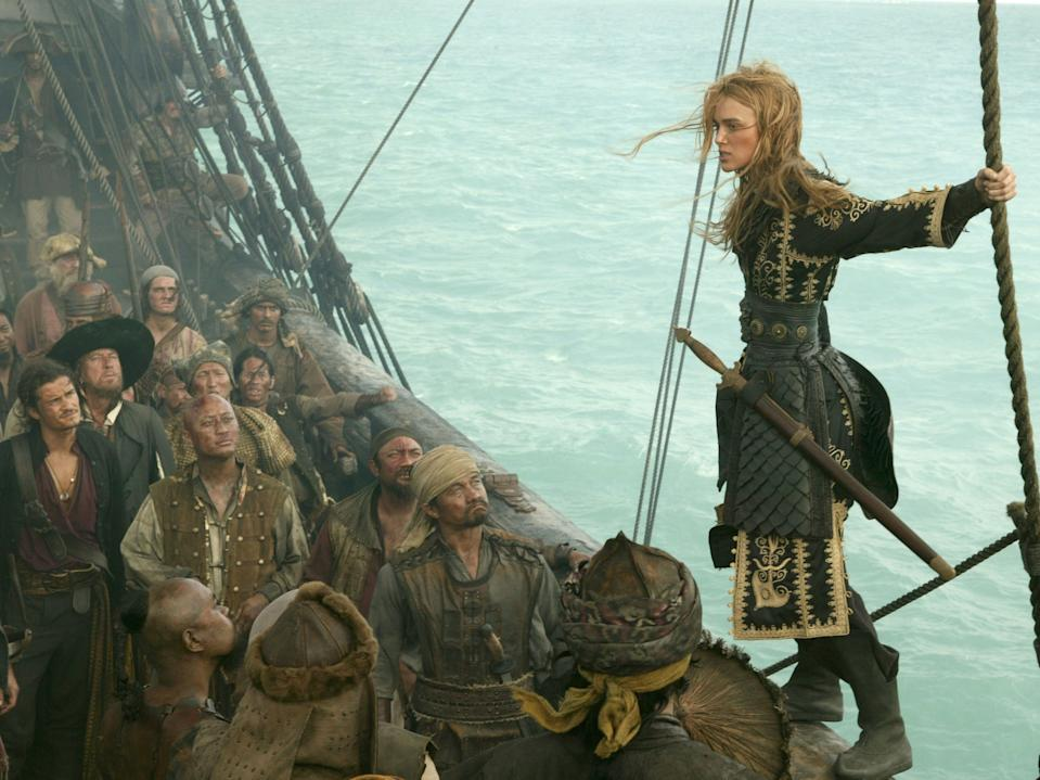 """Keira Knightley as Elizabeth Swan. """"At World's End"""" was originally thought to be the final movie in a trilogy of """"Pirates"""" movies."""