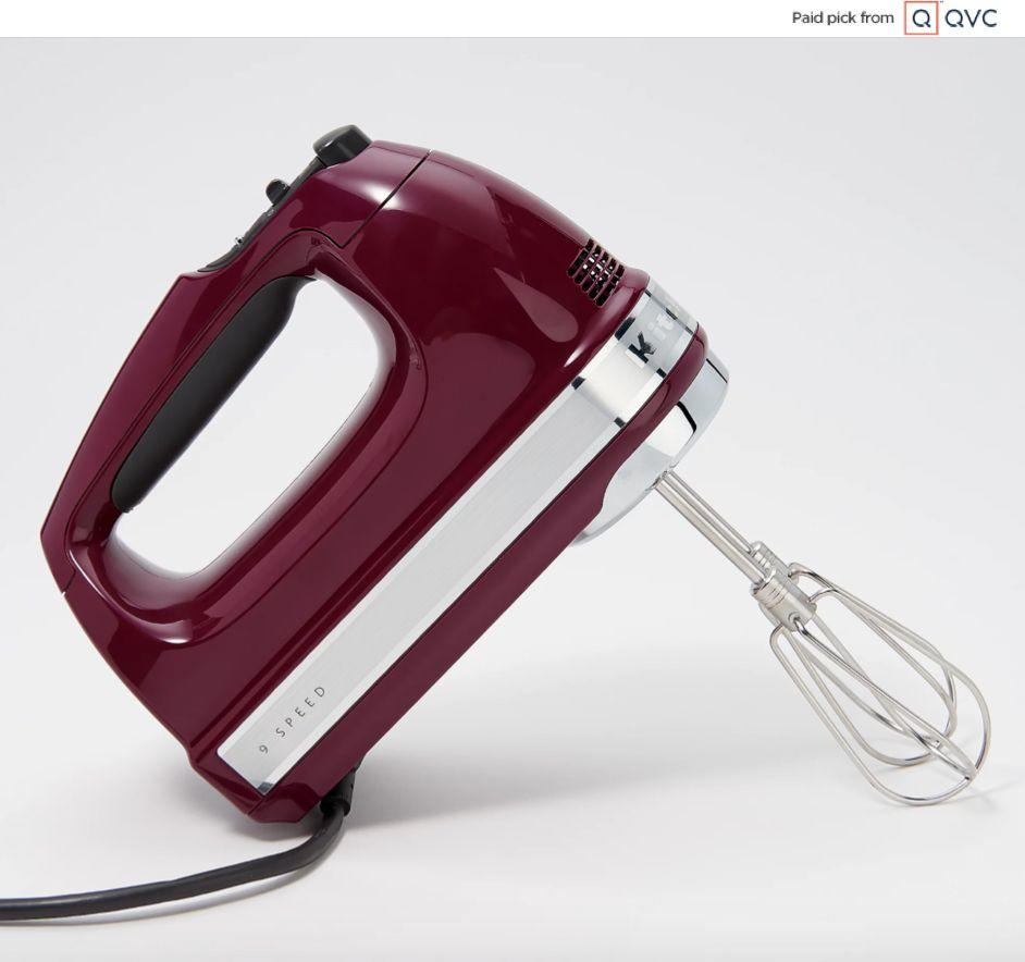 """This KitchenAid hand mixer has nine different speeds, including a """"soft start"""" function so nothing splatters everywhere. This mixer comes with two beaters, two dough hooks, blender rod and whisk.<a href=""""qvc.uikc.net/ZoBBz"""" target=""""_blank"""" rel=""""noopener noreferrer"""">Find it for $75 at QVC</a>."""