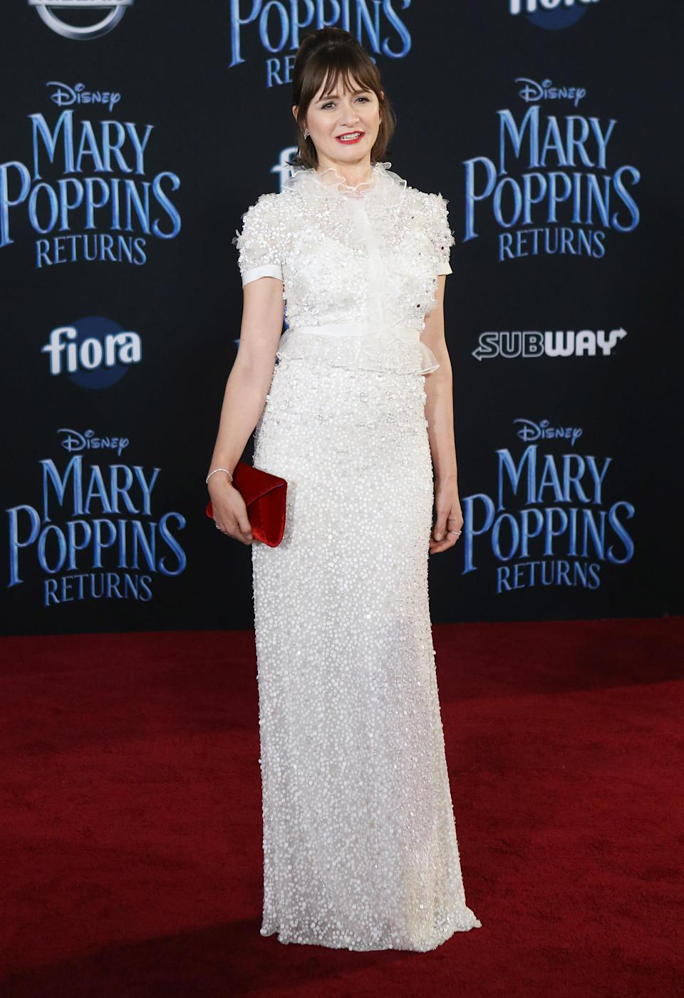 Emily Mortimer wore a sequin embellished Jenny Packham gown on the red carpet. [Photo: Getty]