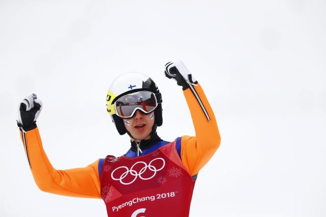 Nordic Combined Events - Pyeongchang 2018 Winter Olympics - Men's Team Gundersen LH Competition - Alpensia Ski Jumping Centre - Pyeongchang, South Korea - February 22, 2018 - Ilkka Herola of Finland reacts. REUTERS/Kai Pfaffenbach