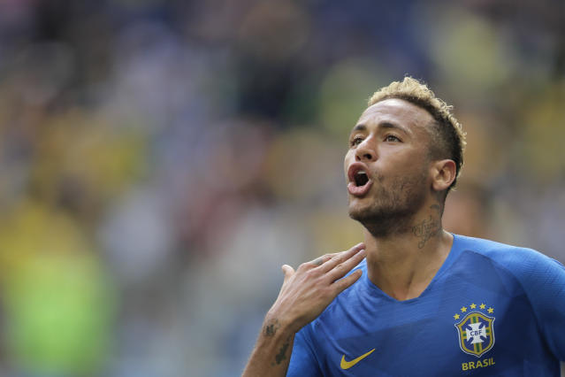 Brazil's Neymar celebrates after scoring his side's second goal during the group E match between Brazil and Costa Rica at the 2018 soccer World Cup in the St. Petersburg Stadium in St. Petersburg, Russia, Friday, June 22, 2018. (AP Photo/Dmitri Lovetsky)