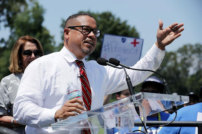 Rep. Keith Ellison (D-Minn.) addresses a rally against education funding cuts outside the U.S. Capitol in July 2017. Days before the Democratic primary for Minnesota attorney general, his campaign was shaken by domestic abuse allegations. (Chip Somodevilla / Getty Images)