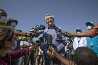 Filippo Grandi, U.N. High Commissioner for Refugees, briefs the press at Umm Rakouba refugee camp sheltering people who fled the conflict in Ethiopia's Tigray region in Qadarif, eastern Sudan, Saturday, Nov. 28, 2020. (AP Photo/Nariman El-Mofty)