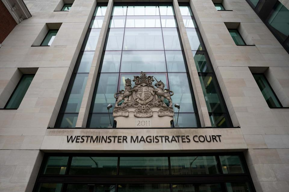 <p>David Chambers, 33, appeared in the dock at Westminster magistrates court this afternoon, indicating he will deny all the charges</p> (EPA)