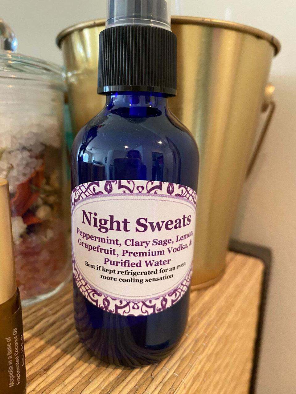 """It'sdesigned to be used when you wake up in the middle of the night in a pool of sweat. Just spray it onto your chest, neck and forearms to get some serious instant relief.Spa Shop by Susan is an essential oil and organic spa products Etsy shop.<br /><br /><strong><a href=""""https://go.skimresources.com?id=38395X987171&xs=1&xcust=HPProductsForHotSleepers-7-2021--60c0db4be4b0b449dc34948b-&url=https%3A%2F%2Fwww.etsy.com%2Flisting%2F543523523%2Fnight-sweats"""" target=""""_blank"""" rel=""""noopener noreferrer"""">Get it from Spa Shop by Susan on Etsy for $14.99.</a></strong>"""