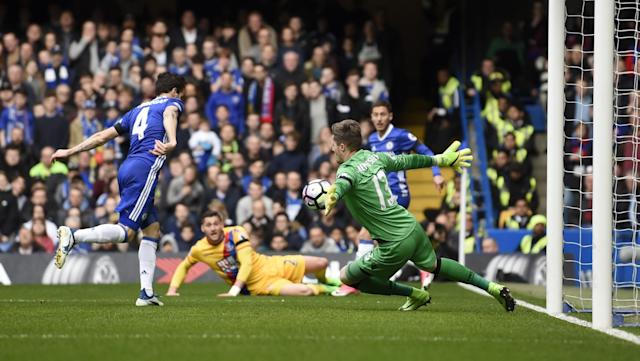 <p>Chelsea's Cesc Fabregas scores their first goal </p>