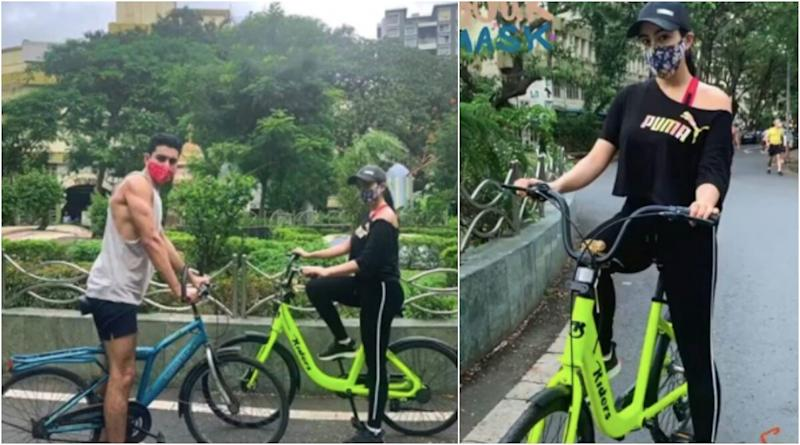 Sara Ali Khan Says 'Wear Your Mask and Ride All Day' As She Goes Cycling With Brother Ibrahim Ali Khan (View Pics)