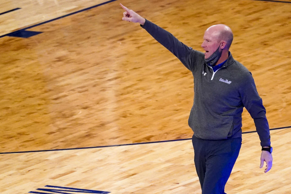 Seton Hall head coach Kevin Willard reacts during the first half of an NCAA college basketball game against St. John's in the quarterfinals of the Big East conference tournament, Thursday, March 11, 2021, in New York. (AP Photo/Mary Altaffer)