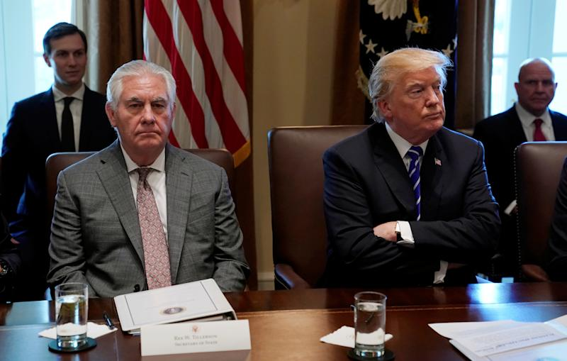 Tillerson's relationship with President Donald Trump was showing signs of strain at a Cabinet meeting on Nov. 20. (Kevin Lamarque/Reuters)