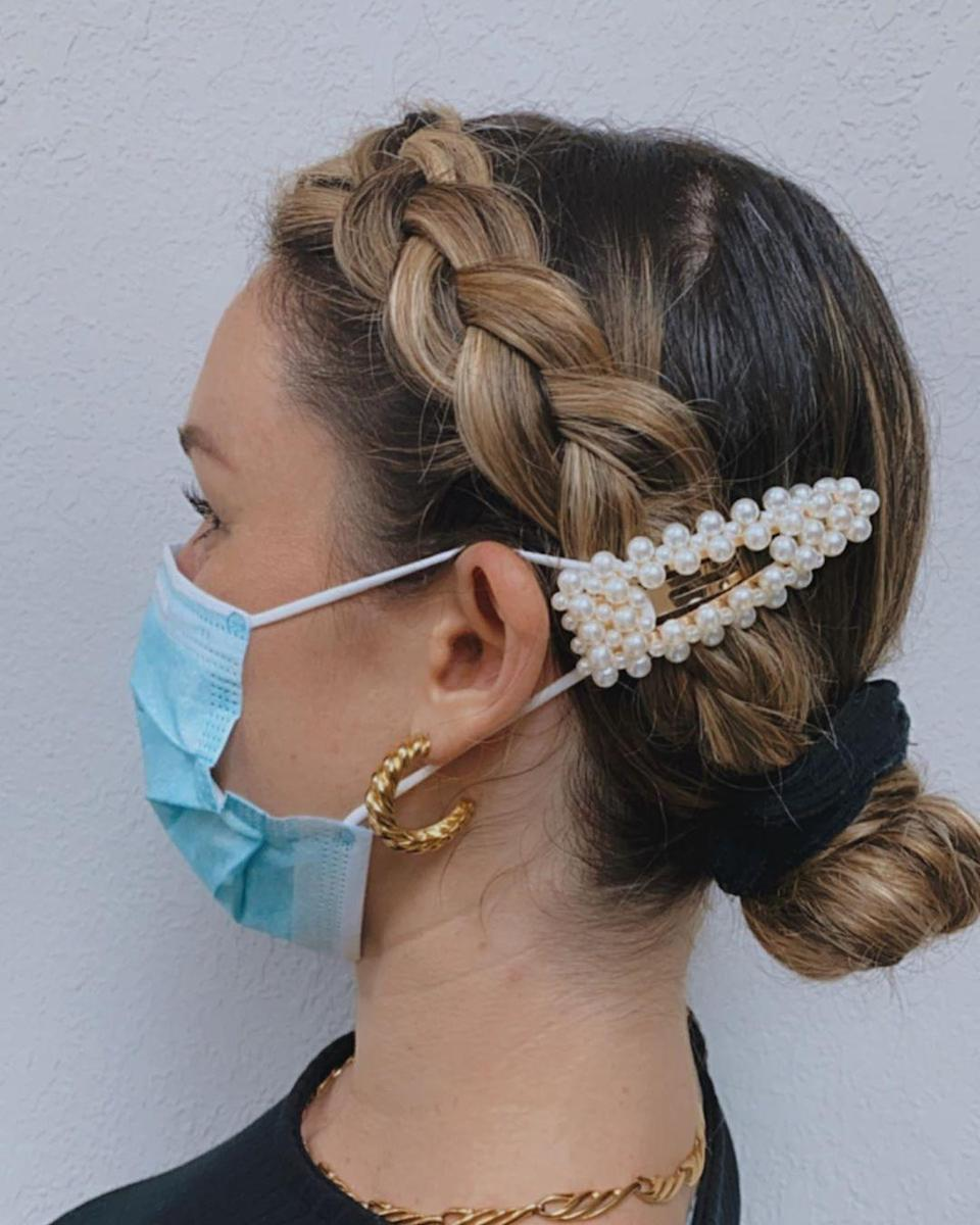 "Put your collection of clips to good use and use them to keep your mask snug and <a href=""https://www.glamour.com/story/face-mask-hack-more-comfortable-ear-irritation?utm_source=nl&utm_brand=glm&utm_mailing=GLM_Daily_073020&utm_campaign=aud-dev&utm_medium=email&bxid=000000000000000000000000&cndid=&hasha=23463b99b62a72f26ed677cc556c44e8&hashb=914fec35ce8bfa1a067581032f26b053591ee38a&hashc=31c5543c1734d25c7206f5fd591525d0295bec6fe84ff82f946a34fe970a1e66&esrc=&utm_content=B&utm_term=GLM_Daily&mbid=synd_yahoo_rss"" rel=""nofollow noopener"" target=""_blank"" data-ylk=""slk:relieve your ears"" class=""link rapid-noclick-resp"">relieve your ears</a>. It looks super cute when paired with a braid to keep your hair out of your face."