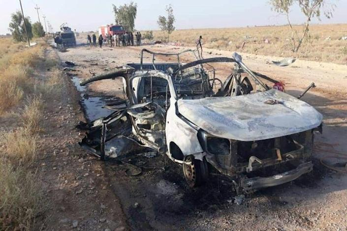 An unclaimed drone attack near Iraq's western border on August 25 killed a Hashed al-Shaabi fighter and left another critically wounded (AFP Photo/-)