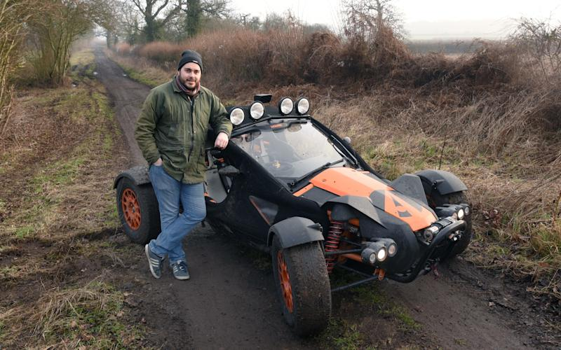The Ariel Nomad on the Fosse Way, an ancient route that is arrow-straight for much of its 230-mile length - JAY WILLIAMS